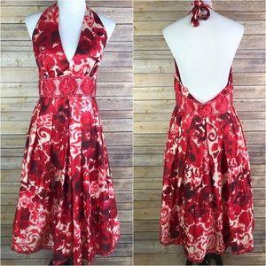 Adrianna Papell Floral Silk Blend Halter Dress